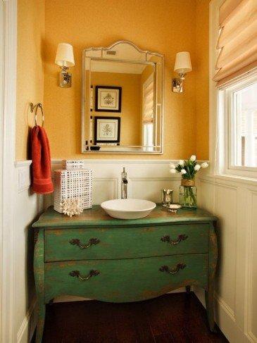 Cuarto de baño con un aspecto vintage
