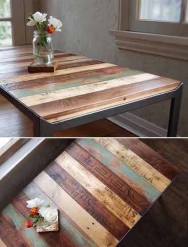 Magnífica mesa - resultado del uso de las diferentes fuentes de madera.